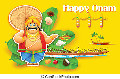 King Mahabali enjoying Boat Race of Kerla on Onam -...