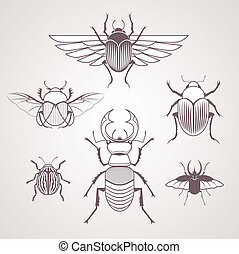 Beetles - Collection of beetle and insect line art