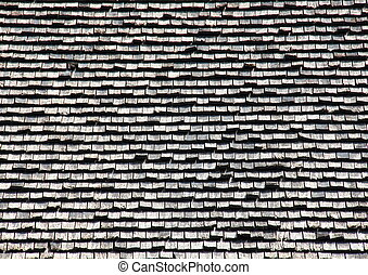 Wooden black and silver tile roof background