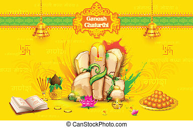 Statue of Lord Ganesha made of rock for Ganesh Chaturthi -...