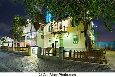 Tel Aviv Night Life - Restored houses at night at the hip...