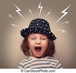 Angry kid in hat screaming white lightnings above on dark -...