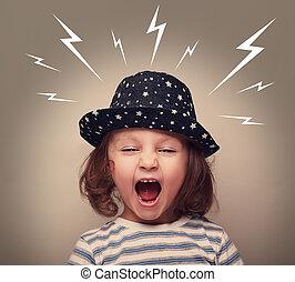 enojado, niño, sombrero, estridente, blanco,...
