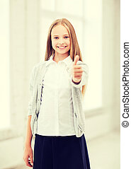 student girl at school - education and school concept -...