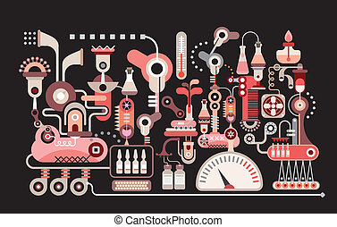 Research laboratory - isolated vector illustration on black...