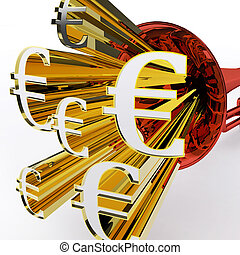 Euro Sign Shows European Bank Currency And Wealth