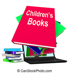 Children's Books Book Stack Laptop Shows Reading For Kids -...