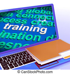 Training Word Cloud Laptop Means Education Development And Learn