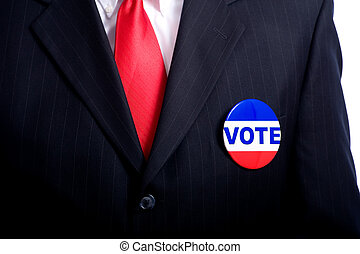 "Vote Button on Business Man or Politician - A ""vote\""..."