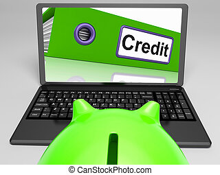 Credit Laptop Means Online Lending Or Repayments - Credit...