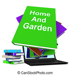 Home And Garden Book Stack Laptop Shows Books On Household...