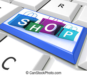 Shopping Bags Key Show Retail Store and Buying - Shopping...