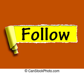 Follow Word Means Following On Social Media For Updates -...