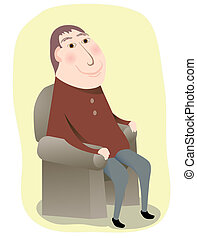 Man Sitting in a Chair - A smiling man sitting in a chair in...