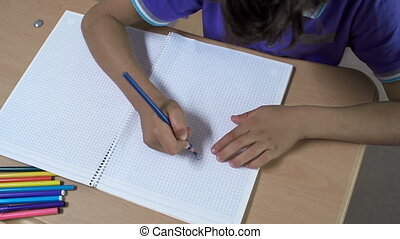 Colorful Illustration - Overhead shot of boy drawing in...