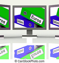 Dollar And Euros Folders Screen Show Global Currency Exchange