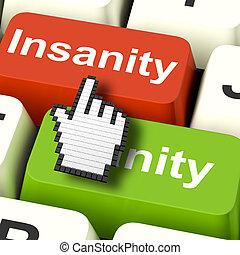 Insanity Sanity Keys Shows Sane And Insane Psychology -...