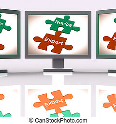 Novice Expert Puzzle Screen Shows Unskilled And Professional...