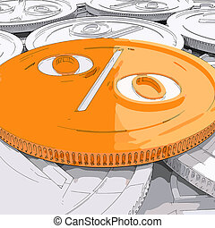 Percentage Coin Shows Interest Earn And Owed - Percentage...