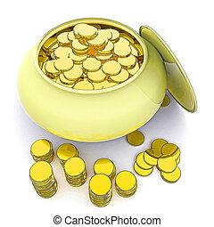 pote, de, Ouro, meios, Dinheiro, ou, afortunado
