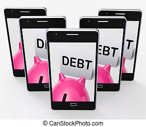 Debt Piggy Bank Means Loan Arrears And Paying Off - Debt...