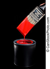 Red Paint and Brush - Colorful can of red paint with a paint...