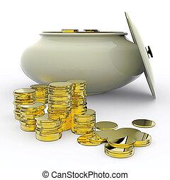 Ouro, meios, Dinheiro, pote, afortunado, ou