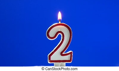 Number 2 - two birthday candle