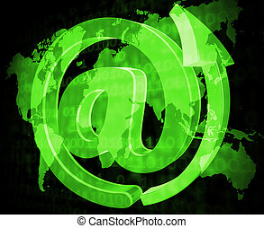Email Sign Shows Send Message And Communicate - Email Sign...