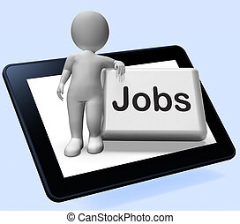 Jobs Button With Character Tablet Shows Hiring Recruitment...