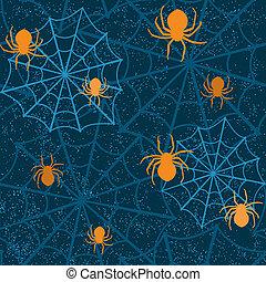 dia das bruxas, seamless, Padrão, aranhas