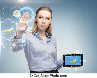 woman working with tablet pc