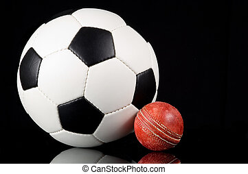 England\'s Games - Soccer ball or football and a cricket...