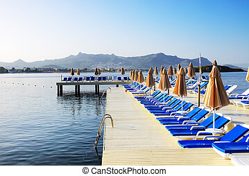 Beach on Turkish resort, Bodrum, Turkey