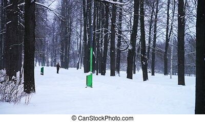 Elderly man with cane walking in park - PETROZAVODSK, RUSSIA...