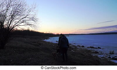 Sunset at Onega lake shore, Petrozavodsk - People walking...