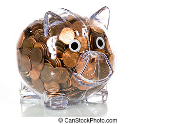 Clear Plastic piggy bank full of pennies - Clear plastic...