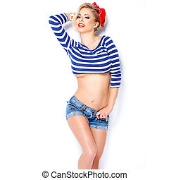 Cute blond in nautical striped blue clothing - Cute...