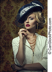 Young woman with vintage style in jewelry - Young,blonde...