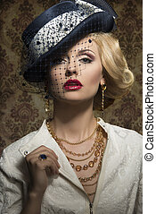Young woman with style in jewelry - Young,blonde beautiful...