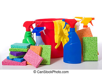 Spring Cleaning Supplies - a variety of cleaning supplies...