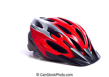 Cycling Helmet - A red bicycling helmet on a white...
