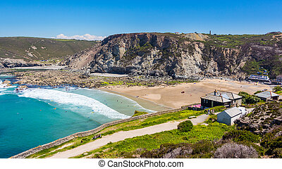 Trevaunance cove St Agnes - Overlooking the beach at...
