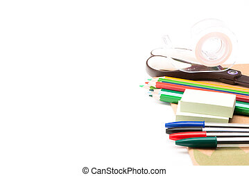 Materiel for school on white background