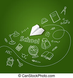 Paper plane and school doodle vector background concept