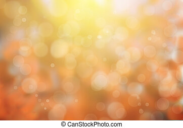 leaf fall abstract background with sun beams and flares