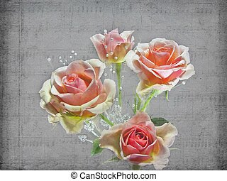 Almost Like A Song - Peach rose bouquet with pearls in faded...
