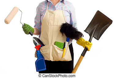 Spring Time Chores - A woman with various spring cleaning...