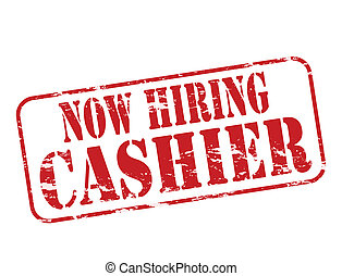 Now hiring cashier - Rubber stamp with text now hiring...