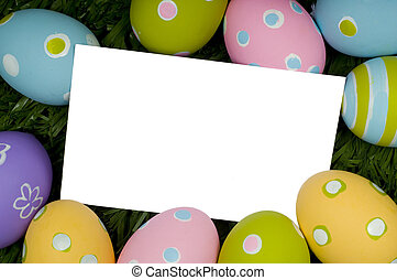 Easter Egg Notecard - A white notecard surrounded by...